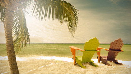 Miami Beach Florida, lounge chairs and palm trees