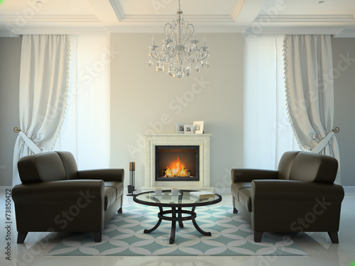 Leinwandbild Motiv Classic style room with fireplace and sofas 3D rendering
