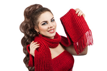 beautiful young girl with knitted scarf