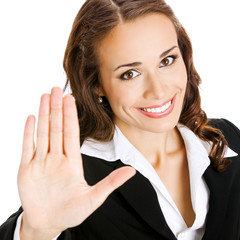 Businesswoman showing stop gesture, isolated