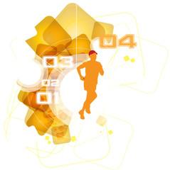 Sport poster. Marathon runner. Vector