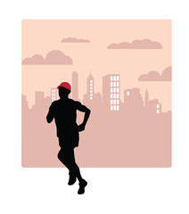Runner. Sport illustration. Vector