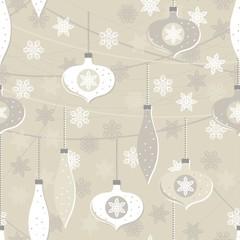 bombki i gwiazdki beżowy zimowy nieskończony deseń