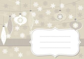 bombki i gwiazdki beżowa pozioma kartka świąteczna z ramką