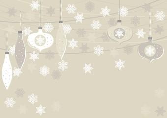 bombki i gwiazdki beżowe zimowe poziome tło