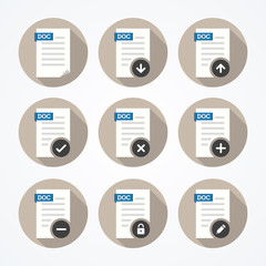 Set of doc file icons with long shadows on round background.