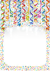 Background with lights, serpentine and confetti