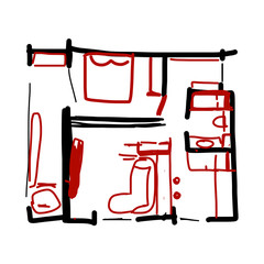 House plan, doodle for your design