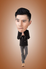 Funny Asian big head man