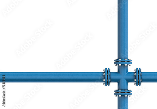 Leinwanddruck Bild Metal pipe isolated on a white background