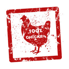 Grunge rubber stamp with the text 100 percent chicken written in