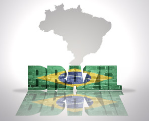 Word Brazil on a map background