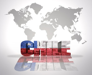 Word Chile on a world map background