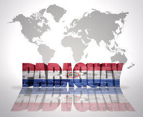 Word Paraguay on a world map background