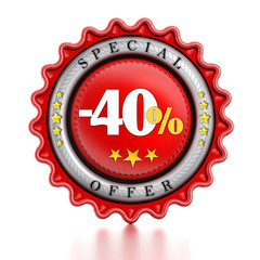 40 percent special offer label