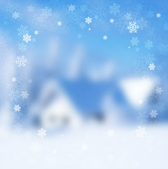 winter Christmas landscape with an indistinct background
