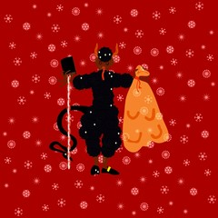 Traditional Christmas devil on red background