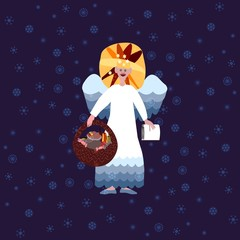 Christmas angel on blue background with snowflakes