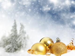Christmas decorations against winter background