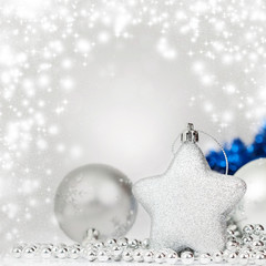 Silver Christmas background with Christmas balls
