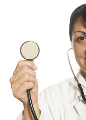 Close up of female doctor with stethoscope