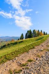 Path in autumn landscape of Pieniny Mountains, Poland