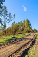 Rural road in Pieniny Mountains in autumn season, Poland