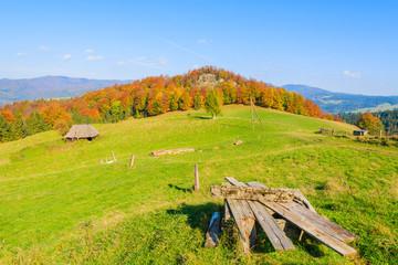 View of green meadow and mountain hut, Pieniny Mountains, Poland