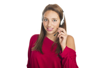 young smiling girl talks by mobile phone