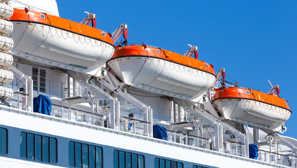 Rescue boats on big passenger ship