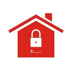 Icono casa segura candado rojo
