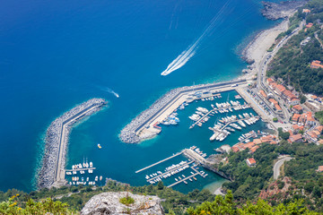 Aerial view of Maratea habor, Basilicata, Italy