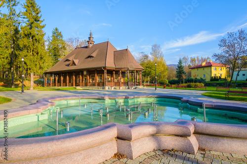 Fotobehang Fontaine Fountain in Wysowa Zdroj park in autumn season, Poland