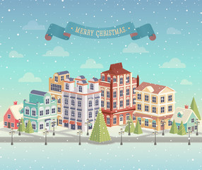 Christmas cityscape and snowfall. Vector illustration.