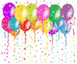 Colorful balloons greeting with confetti and stars background
