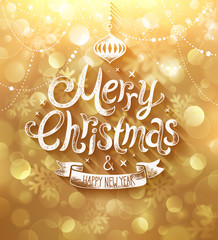 Christmas card with golden background. Vector illustration.