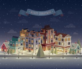 Christmas night cityscape and snowfall. Vector illustration.