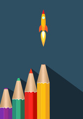Creative Start Up with Color Pencil and Rocket