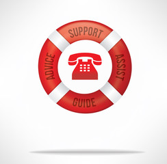 Customer Service Support Hotline with Telephone and Lifebuoy