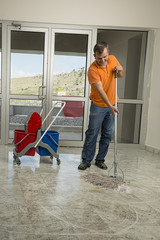 Manual Worker Mopping