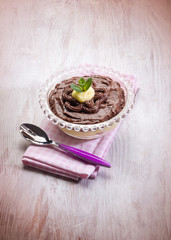 dessert with chocolate and lemon cream