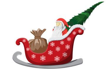 Santa Claus Christmas sledge isolated on white Background