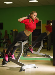 Fit female training in gym