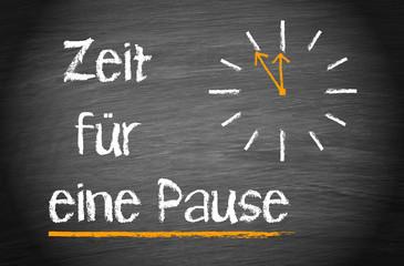 Zeit für eine Pause - Kreidetafel mit Uhr