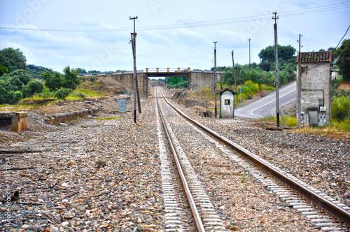 Staande foto Treinstation Vía férrea en la estación de Fuente del Arco, Badajoz