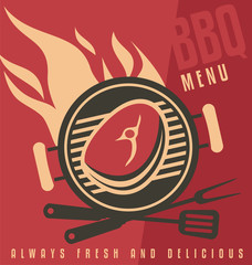 Grill cover menu vector document template