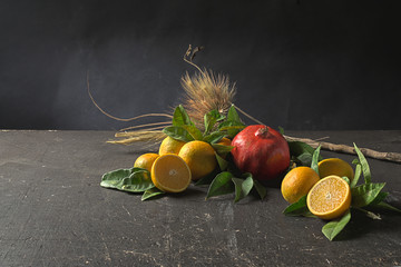 Oranges, pomegranate, branch and ears on a grunge table
