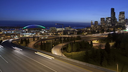 Time lapse traffic Seattle Skyline