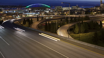 Time lapse close up traffic Interstate Seattle