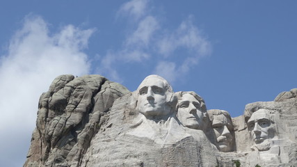 Time lapse close up Mt. Rushmore Presidents